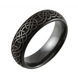 Celtic Knot Laser Engraved Domed Black Zirconium Ring