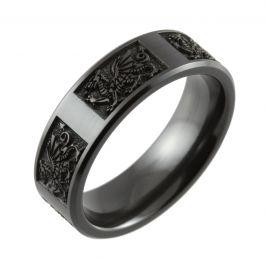 Welsh Dragon Laser Engraved Chamfered Black Zirconium Ring