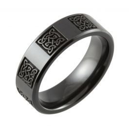 Laser Engraved Repeated Celtic Knot Chamfered Black Zirconium Ring