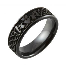 Laser Engraved Claddagh Design Flat Black Zirconium Ring