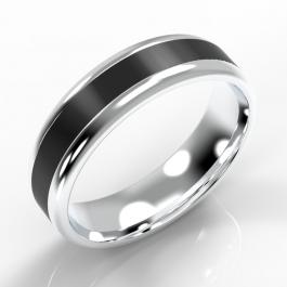 Platinum Softened Flat Court with Black Zirconium Inlay