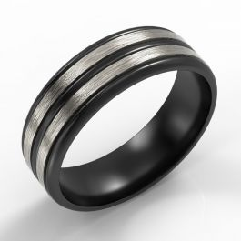 Ribbed Black Zirconium Band with Twin Platinum Inlays