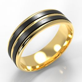 Ribbed Yellow Gold Band with Twin Black Zirconium Inlays