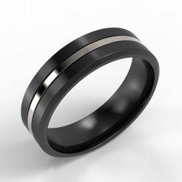 Bevelled Edge Black Zirconium Ring with Platinum Inlay