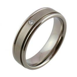 Titanium Twin Groove and Diamond Wedding Ring