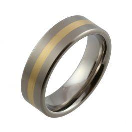 Titanium with Flat Yellow Gold Inlaid Wedding Ring