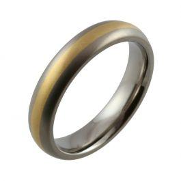 Titanium 5mm Domed Yellow Gold Inlaid Wedding Ring