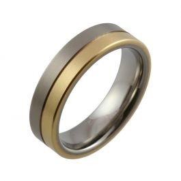 Titanium with Centre Groove and Yellow Gold Inlay Wedding Ring