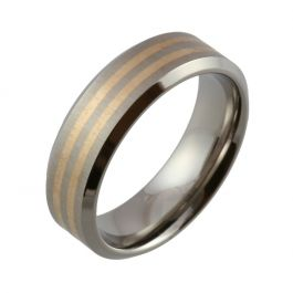 Titanium with Bevelled Edges & Twin Red Gold Inlays