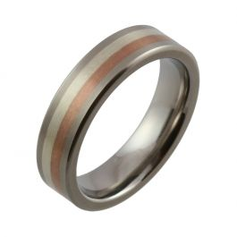 Titanium with Red and White Gold Inlays Wedding Ring