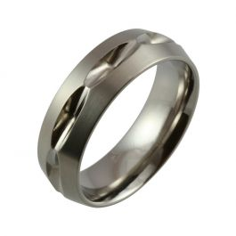 Repeated Cut-Out Design with Satin Top and Polished Detail Titanium Wedding Ring