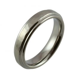 Shoulder Cut Edges with Hammered Top and Satin Finish Titanium Wedding Ring