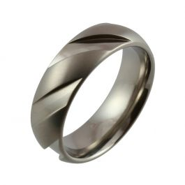 Domed with Machined Angular Sections Titanium Wedding Ring