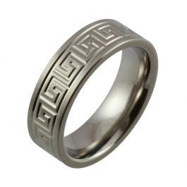 Machined Maze Design with Satin Finish Titanium Wedding Ring