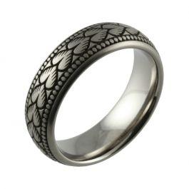 Laser Engraved Vintage Pattern Titanium Wedding Ring