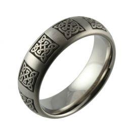Laser Engraved Celtic Knot Domed Titanium Wedding Ring