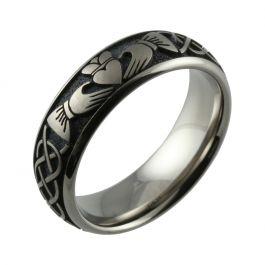 Laser Engraved Claddagh Design Titanium Wedding Ring