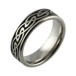 Laser Engraved Continuous Celtic Knot Titanium Men's Wedding Ring