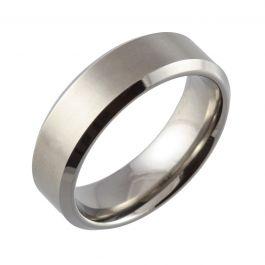 Bevelled Edge & Satin Top Flat Court Titanium Ring