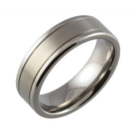 Twin Groove Machined Titanium Ring