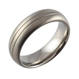 Court with Twin Grooves & Satin Top Ring