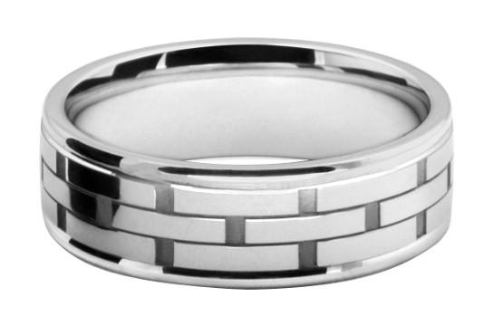 レンガ模様をレーザー彫刻したメンズの結婚指輪オーダーメイド